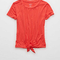 Aerie Tie Front Baby Tee , Red Cord