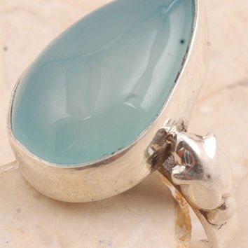 Beaming Blue Chalcedony Ring