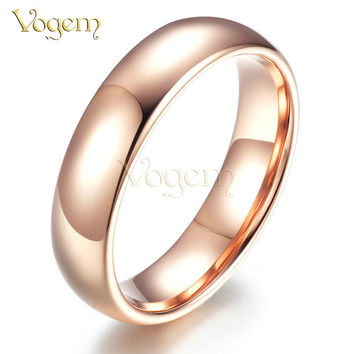 VOGEM Gold 585 Simple Style Promise Rings For Women and Men Copper Alloy Couple Ring bijouterie anillos feminios Turkish Jewelry