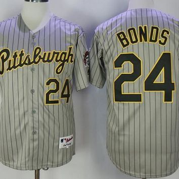 Men's Pittsburgh Pirates 24 Barry Bonds 22 Andrew McCutchen Pull Down Majestic jersey Grey Stripe full size