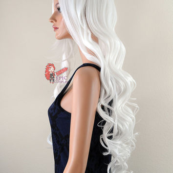"Hera- 38"" White Curly Wavy Extra Long Cosplay Wig *"