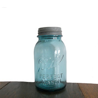 Aqua Ball Jar Vintage Mason with Original Zinc Lid - Quart Size Capacity - Decor and Storage Item
