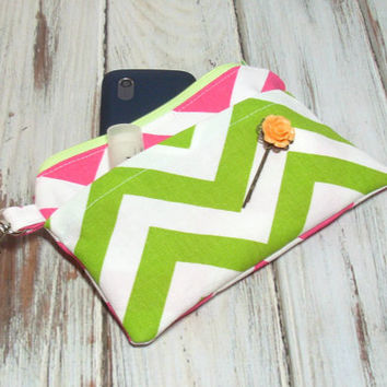 Pink Green Clutch, Clutch Wallet, iPhone Clutch, Purse Accessory, Cute Clutch Bag, Small School Bag, Cell Phone Wallet, Girls Party Favor