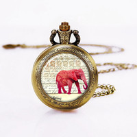 Red Elephant Pocket Watch , Antique  Watch ,Necklace for Girls, Mother's Day Gift