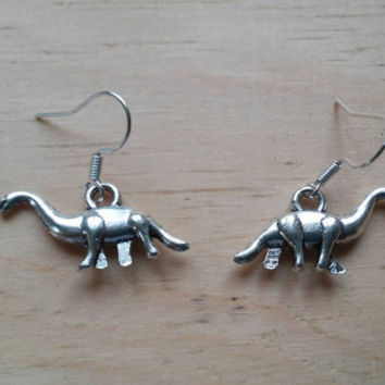 Antique Silver Dangle Earrings. Cat, Sea Horse, Mermaid, Dinosaur