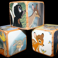 Childrens Wooden Blocks - Bambi - Baby Shower Gift - Nursery Room Decor