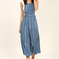 Mink Pink Tangier Blue Print Cropped Overalls