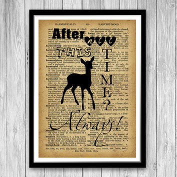 Harry Potter Quote Print Dictionary Art Print Wall Art Home Decor After all this time! Always! Harry Potter Print FM01