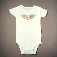 May Pink Gingham Flower Bodysuit,Baby Girl Bodysuit,Spring Baby Bodysuit,Girl Shower Gift-All sizes-Newborn, 3 6 9 12 18 24 month-Pictures
