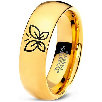 Butterfly 18k Yellow Gold Dome Tungsten Ring by 3 Tinkers Pink