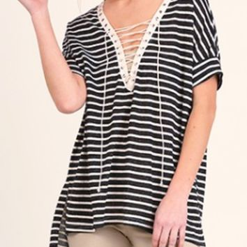 Lace Up Luxe Striped Top