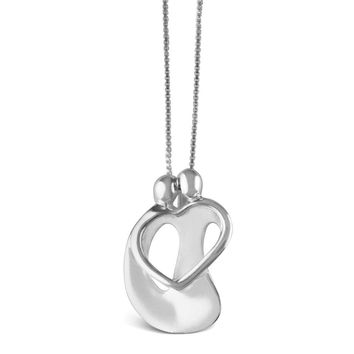 Couple Heart Gift Sterling Silver Necklace