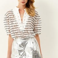 Sally Metalic Silver Shorts Discover the latest fashion trends online at storets.com