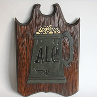 Wood Ale Bar Sign, Vintage Wooden Beer Brew Plaque, Beer Mug Tankard Stein, Home or Business Bar Pub Decor