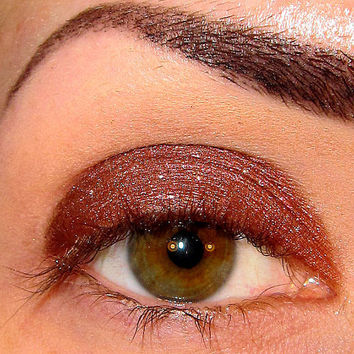 Toasty Fireplace Eyeshadow Mineral makeup Holiday collection (Dark brown w/ red sheen & silver sparkle) Eye shadow Eyeliner