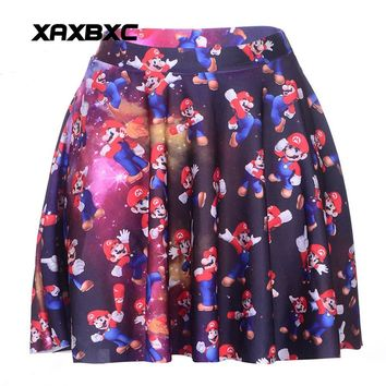 Super Mario party nes switch NEW 1075 Summer Sexy Girl Galaxy  bros Printed Cheering Squad Tutu Skater Women Mini Pleated Skirt Plus Size AT_80_8