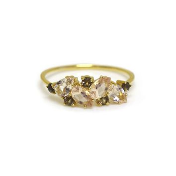 14kt Gold Pink Morganite & Smoky Quartz Woodland Fairytale Ring