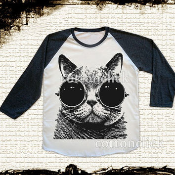 S, M, L - CAT Glasses Shirts Cat Shirts Kitten Cat Galaxy Shirts Animal Shirts Baseball Tee Raglan Long Sleeve Unisex Women Shirts