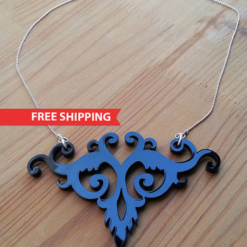 Floral Heart Necklace - Laser Cut Acrylic Jewelry - Black Silhouette Large Jewellery