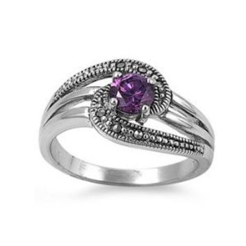 High Fashion Sterling Silver Link Design Marcasite Ring with Round Purple CZ