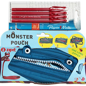 Zipit Monster Pencil Pouch Blue and Paper Mate Erasermate Medium Tip Ballpoint Pens