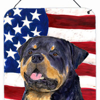 USA American Flag with Rottweiler Aluminium Metal Wall or Door Hanging Prints