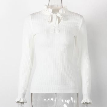 STYLEDOME Casual Slim Sweater Knitted Sweater Lace Up Flare Long Sleeve Ruffle Knitting Pullover