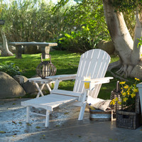 Adirondack Chair With Ottoman & Cup Holder In Whitewash Stained Fir Wood