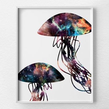 Jellyfish Art, Jellyfish Print, Jellyfish Poster, Space Print, Ocean Art, Bathroom Art, Nautical Decor, Nebula Art, Jellyfish Decor, 0379