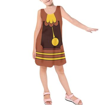 Kid's Cogsworth Beauty and the Beast Inspired Sleeveless Dress