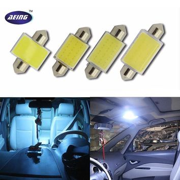 12V Double Tip LED COB Xenon White Ice Blue 31mm 36mm 39mm 42mm Interior Reading Dome Festoon License Plate Trunk Light Lamps