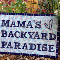 Mosaic Garden Sign, Personalized Name Art