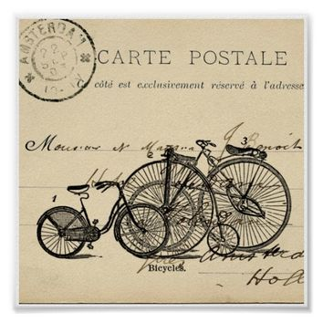 Vintage Bicycles French Postcard Art Print