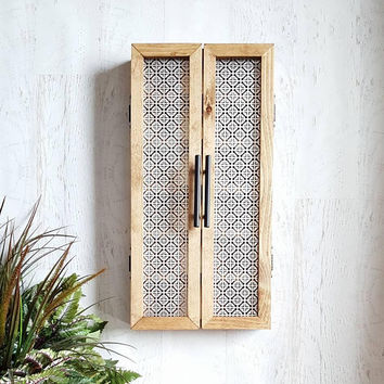 Wall Mounted Essential Oil Storage Cabinet || Mosaic - Kitchen Storage, Farmhouse Style, Essential Oil Shelf, Rustic Home Decor