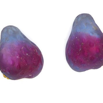 Molded Glass Pear Berry Clip On Earrings