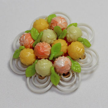 Vintage Flower Brooch pink yellow green pastel Plastic ladies costume jewelry floral pin summer style