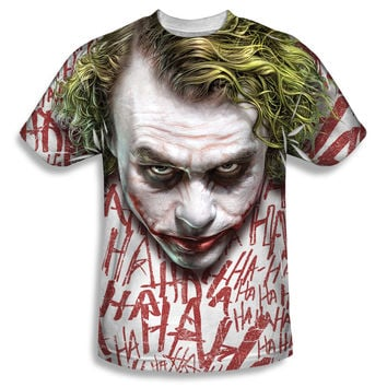 Batman Dark Knight Joker Face Sublimation Mens T-Shirt