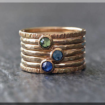 Set of 7 14k Gold Filled Birthstone Stacking Rings, Swarovski Gem Ring, Mother's Ring Stack, Swarovski Stacking Ring, Mother's Gift