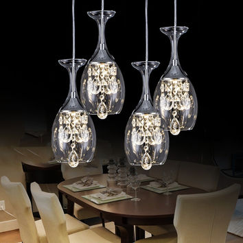 Home Decoration Led Crystal Pendant Light Wine Cup Lamp Hanging Cord Pendant Lamps Lampara Colgante For Kitchen/Bar/Foyer