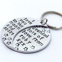 Hand stamped personalised message I love you to the moon and stars keyring