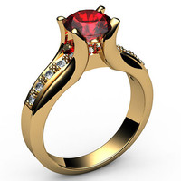 Ruby Engagement Ring 18K Yellow Gold Tension Ring