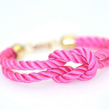 Square Knot Bracelet Pink by DobleEle on Etsy