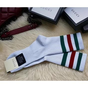 GUCCI Woman Men Stripe Cotton Socks Stockings