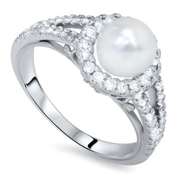 Diamond & Pearl Vintage Antique Style Ring 14 KT White Gold