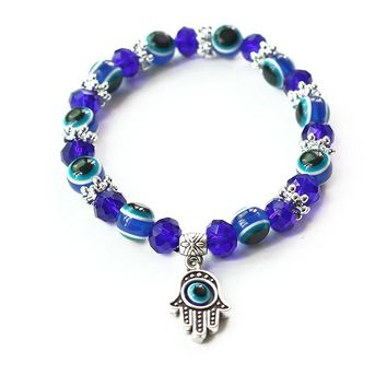 """Bracelets"" Blue Evil Eye Bracelets Elastic 