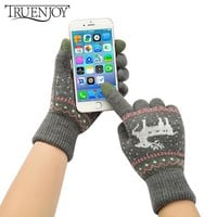 TRUENJOY Fashion Winter Gloves For Women Knitted Touch Warm Gloves For Girls Boys Gloves Touch Screen Glove For Women