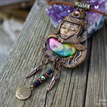 Goddess necklace Rainbow Solar quartz Clay goddess pendant Rainbow quartz pendant Gaia pendant Spiritual Chakra pendant Tree of life
