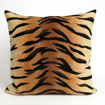 """Tiger Brown 20"""" Square Indoor Outdoor Pillow"""