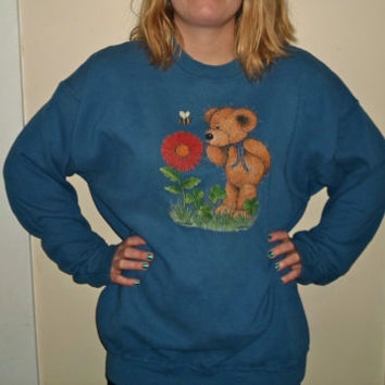 90s Blue Teddy Bear Flower Sweatshirt Crewneck Sweater