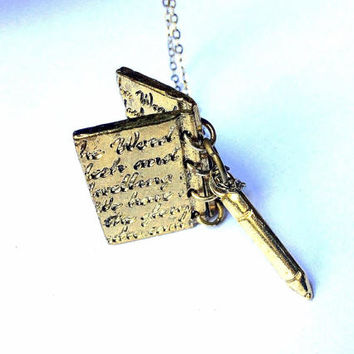 Writing Implements Necklace: journal and pencil pendants, notebook and pen charms